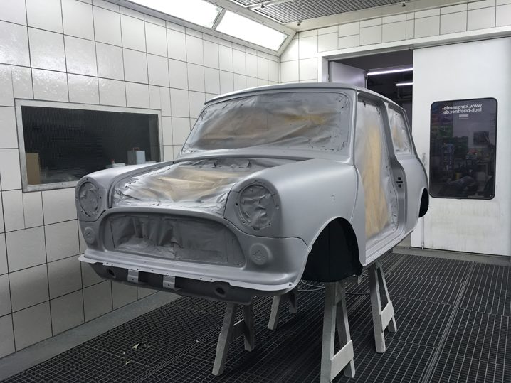 Mini Rover Classic SPI 1995 1993 Restauration minifrogs Erbsle british racing green lackierung rohkarosserie grundierung
