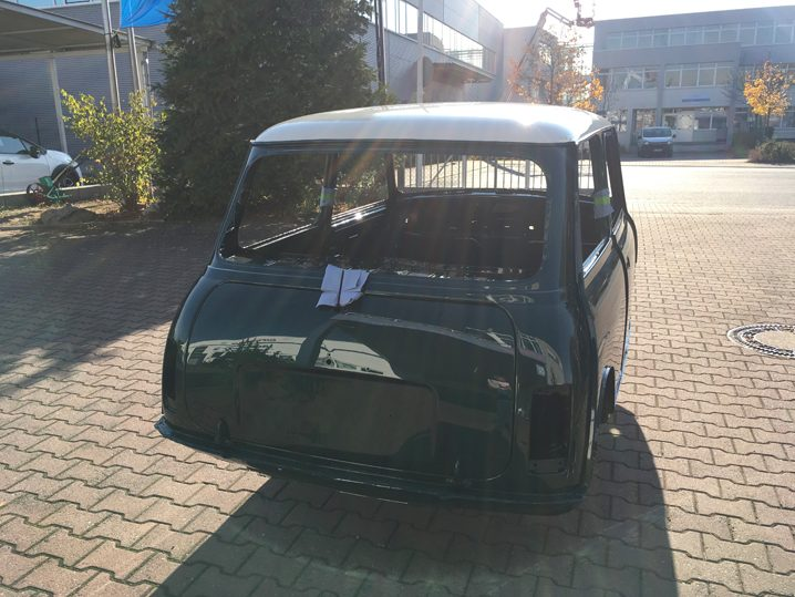 Mini Rover Classic SPI 1995 1993 Restauration minifrogs Erbsle british racing green lackierung rohkarosserie